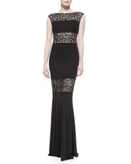 Womens Cap Sleeve Lace Illusion Gown, Black   David Meister   Black/Nude (2)