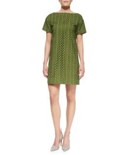 Womens short sleeve eyelet shift dress   kate spade new york   Alma green 348