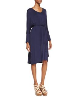 Womens Long Sleeve Jersey Dress, Navy   Melissa Masse   Navy (MEDIUM (8/10))