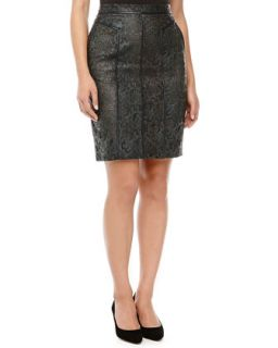 Womens Lace Leather Pencil Skirt   J. Mendel   Navy (10)