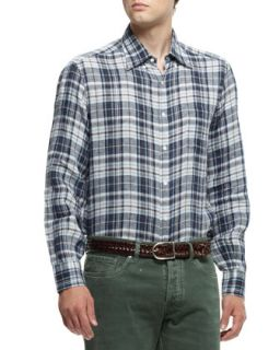 Mens Plaid Button Down Shirt, Brown/Blue   Brunello Cucinelli   Brown/Blue