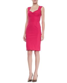 Womens Pesco Sleeveless Darted Sheath Dress, Cherry   Roland Mouret   Cherry