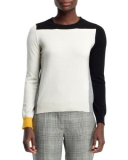 Womens Cashmere Colorblock Sweater, Black/White   Stella McCartney   Multi
