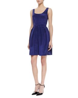Womens Sleeveless Pleated Skirt Dress, Ink Blue   Shoshanna   Ink (2)
