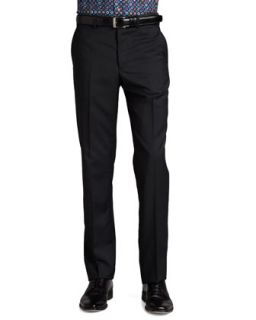 Mens Flat Front Dress Pants, Charcoal   Etro   Charcoal (56)