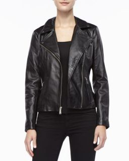 Womens Leather Moto Jacket   Black (MEDIUM/8 10)