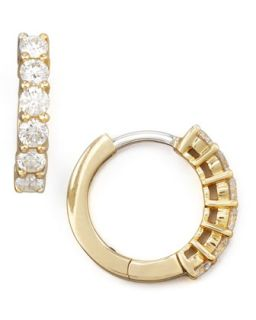 13mm Yellow Gold Diamond Hoop Earrings, 0.7ct   Roberto Coin   Yellow (13mm ,