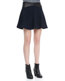Womens Basha Flared Leather Waist Skirt   Rag & Bone   Indigo (12)