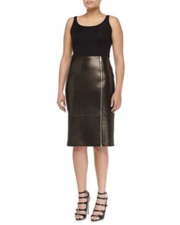 Womens Paneled Zip Leather Pencil Skirt, Black   Michael Kors   Black (4)