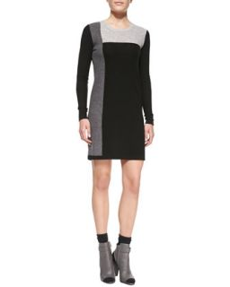 Womens Geometric Intarsia Cashmere Long Sleeve Sweater Dress   Vince   Black