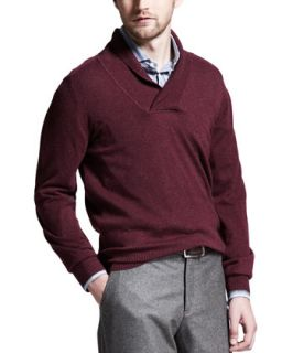 Mens Shawl Collar Cashmere Sweater, Wine   Brunello Cucinelli   Wine (XXL/56)