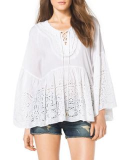 Womens Lace Up Front Eyelet Top   MICHAEL Michael Kors   White (SMALL)