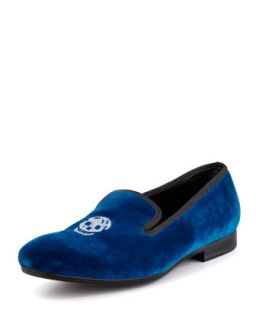 Mens Velvet Skull Embroidered Slipper, Blue   Alexander McQueen   Blue (44.