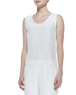 Long Crepe Tank, White, Womens   Caroline Rose   White (1X (16/18))