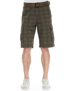 Mens Plaid Twill Cargo Shorts   WRK   Olive (38)