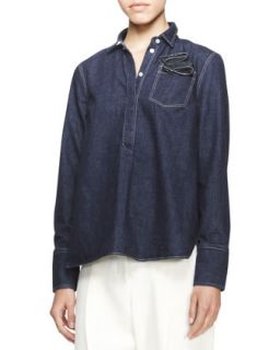 Womens Long Sleeve Boyfriend Denim Shirt   Brunello Cucinelli   Denim (M/6)