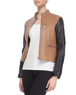 Womens Zip Up Leather Moto Jacket, Truffle   Alexander Wang   Truffle (X SMALL)