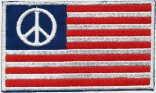 American Flag with Peace Sign in Corner   Embroidered Sew On Patch (USA / United States of America) Clothing