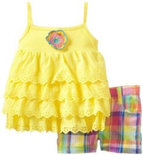 Young Hearts Baby Girls Infant 2 Pieced Yellow Infant Girls Knit Pullover And Woven Short Set, Yellow, 12 Months Clothing