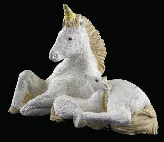 Resin Cream Colored Recumbent Mother Unicorn and Baby Figurine   Collectible Figurines