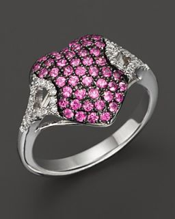 Badgley Mischka Pink Sapphire And Diamond Pave Heart Ring's