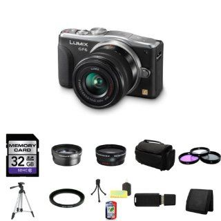 Panasonic Lumix DMC GF6 Mirrorless Micro Four Thirds Digital Camera with 14 42mm f/3.5 5.6 II Lens + 2x Telephoto Lens + Wide Angle Lens + 32GB SDHC Class 10 Memory Card + 46mm 3 Piece Filter Kit + Full Size Tripod + Deluxe Soft Large Camera and Video Case