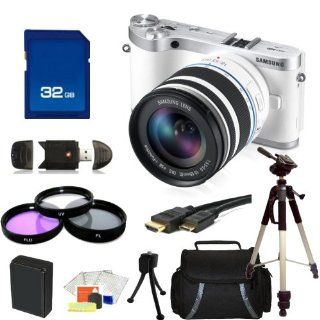 Samsung NX300 Mirrorless Digital Camera with 18 55mm f/3.5 5.6 OIS Lens (White). Includes 3 Piece Filter Kit (UV CPL FLD), 32GB Memory Card, High Speed Memory Card Reader, Mini HDMI Cable, Extended Life Replacement Battery, Tripod, Carrying Case & Sta