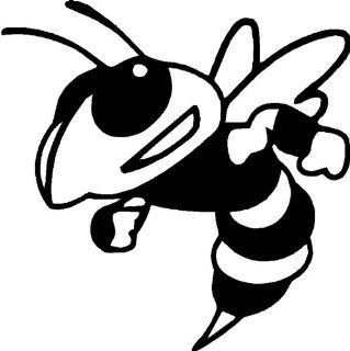 "Mean Bee   Mean Hornet   Vinyl Decal Sticker 6"" YELLOW Automotive"