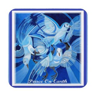 Peace On Earth Greetings With Doves Drink Coasters
