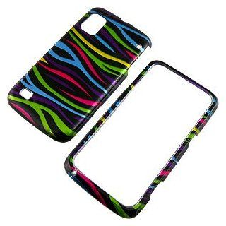 Zebra Stripes (Rainbow/Black) Protector Case for ZTE Warp N860 Cell Phones & Accessories
