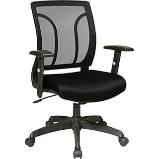 Office Star Fabric Screen Back Chair with Mesh Seat and Height AdjusTable Arm, Black  Make More Happen at