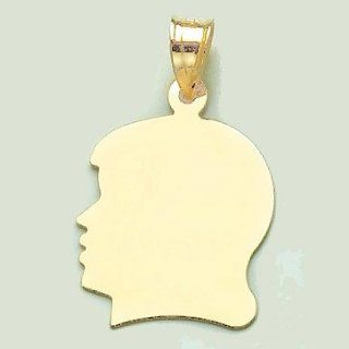 14k Gold Necklace Charm Pendant, Girl Silhouette, High Polish Jewelry