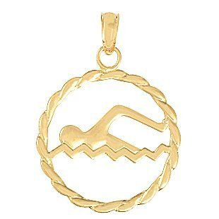 Gold Sports Charm Pendant Swimmer Inside Round Leaf Frame Million Charms Jewelry