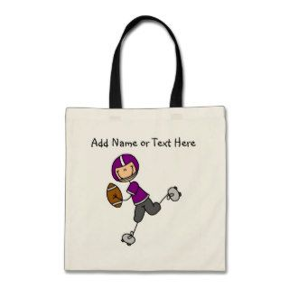 Custom Stick Figure Purple Football Player  Bag