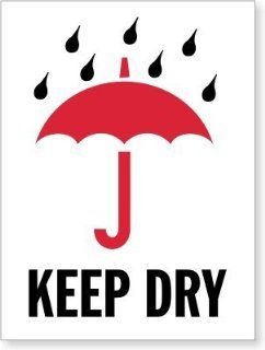 "Keep Dry (with umbrella), Paper Labels, 500 Labels / Roll, 3"" x 4""  Shipping Labels"