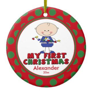 Baby's First Christmas Ornament Stick Figure Boy