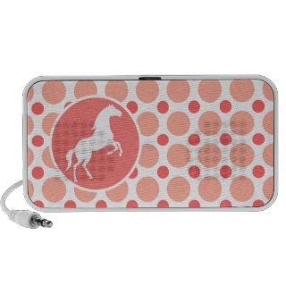 Horse; Pink & Coral Polka Dots Notebook Speakers