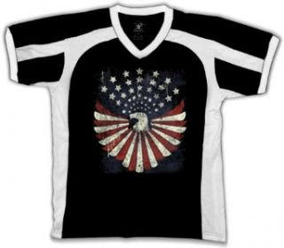 Bald Eagle American Flag Colors Mens Sports T shirt, Red White And Blue Eagle Design Sport Shirt, Small, Black/White Clothing