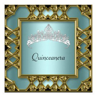 Quinceanera Birthday Party  Gold and Teal Custom Invites