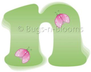 """n"" Green Pink Ladybug Alphabet Letter Name Wall Sticker   Decal Letters for Children's, Nursery & Baby's Room Decor, Baby Name Wall Letters, Girls Bedroom Wall Letter Decorations, Child's Names. Ladybugs Lady Bug Mural Walls Deca"