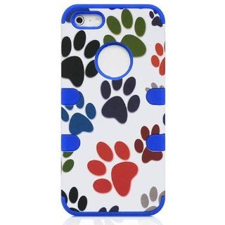 Casea Packing Colorful Paw Hybrid Rugged Rubber Blue Hard Case Cover for iPhone 5 5G 5S Cell Phones & Accessories