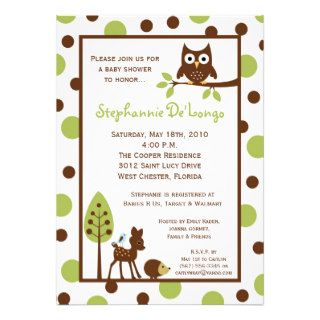 5x7 Forrest Woodland Animal Baby Shower Invitation Custom Invites