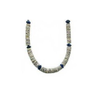 "Grey Hammershell Heishi, Lapis Lazuli & Sterling Silver Men's Gemstone Necklace   16"" Timeless Treasures Jewelry"