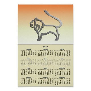 Leo Zodiac Star Sign Light Silver Calendar 2012 Print