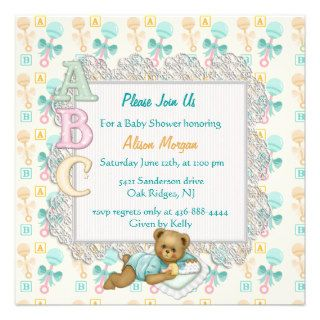 ABC Teddy Shower Invitation   Peach and Aqua Custom Invites
