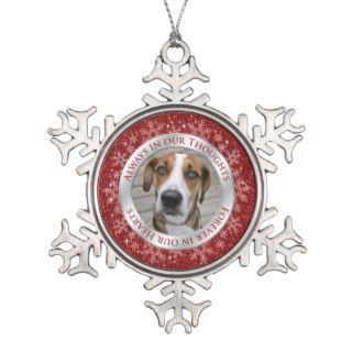 Pet Dog Memorial Photo Christmas Red Silver Ornament