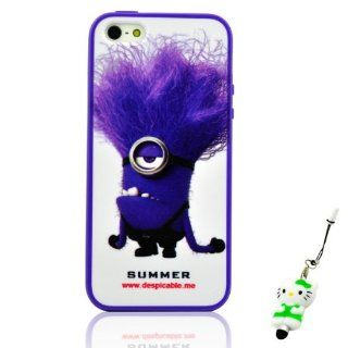 I Need(TM) Funny Purple Frame Despicable Me Purple Minion Style Snap on Hard Cover Case Compatible For Apple Iphone 5 + 3D Kitty Stylus Pen+I need� Wristband Gift(Retail Package) Electronics