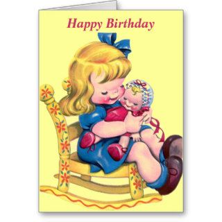 Happy Birthday   Little Girl with Doll Greeting Card