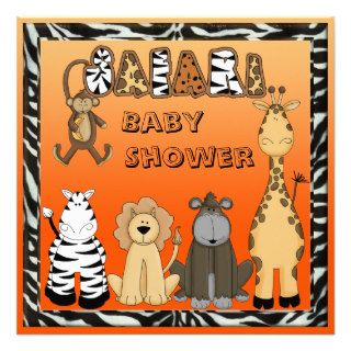 Cute Safari Animals Neutral Orange Baby Shower Custom Invite