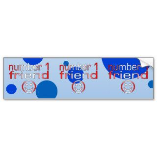 Number 1 Friend in Canadian Flag Colors for Boys Bumper Sticker